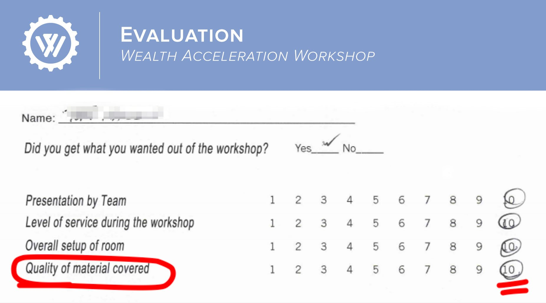 Wealth factory wealth acceleration event application an actual evaluation form from a wealth acceleration workshop 100 of attendees gave a 1010 for quality of material covered malvernweather Image collections